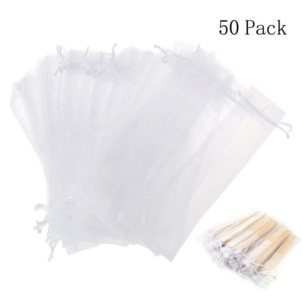 Dproptel Bolsas plegables de organza con cordón para ventilador de mano, para fiesta, boda, regalo, 5 x 25 cm, 50 unidades, color blanco