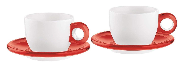 GUZZINI SET 2 Gocce Cappuccino Tassen mit Untertasse , Rot