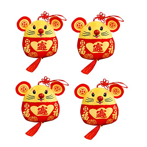STUDYY 4 Pack Chinese New Year Red Rat Ornament Decorations, Plush Red Mascot Mouse Stuffed Animal Lucky Doll, Plush Red…