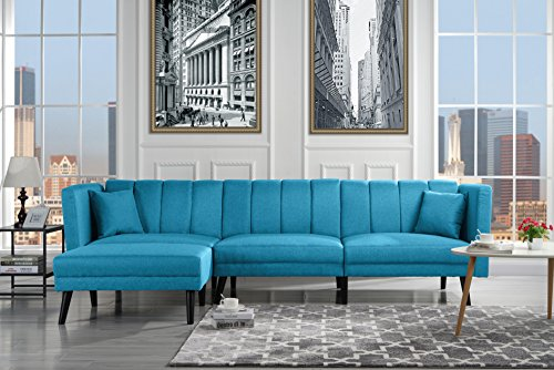 (Mid Century Modern Style Linen Fabric Sleeper Futon Sofa, Living Room L Shape Sectional Couch with Reclining Backrest (Sky Blue))