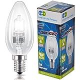Long Life Lamp Company CANECO42WE14 - Bombilla halógena de bajo consumo regulable con forma de vela, casquillo E14, 42 W equivalente a 60 W, 10 unidades