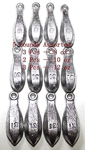 Kathy store INC Bulk Bullet Weights Bank Fishing Sinkers - assorted weights (5 LB-8oz\10oz\12oz)