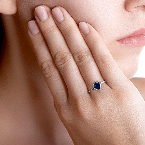 Tousmesbijoux Bague poire en Or blanc 750 diamants et saphir