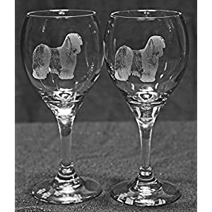 Muddy Creek Reflection Tibetan Terrier Dog Laser Etched Wine Glass Set (2, TDW) 1