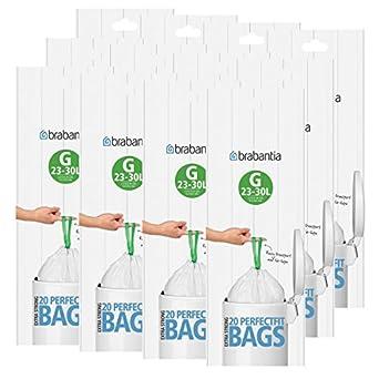 Brabantia - Juego de 12 rollos de bolsas de basura (tamaño G, 30 L, 20 bolsas en cada rollo, 240 bolsas en total)