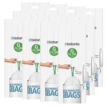 Brabantia Juego de 12 rollos de bolsas de basura (tamaño G, 30 L, 20 bolsas en cada rollo, 240 bolsas en total)