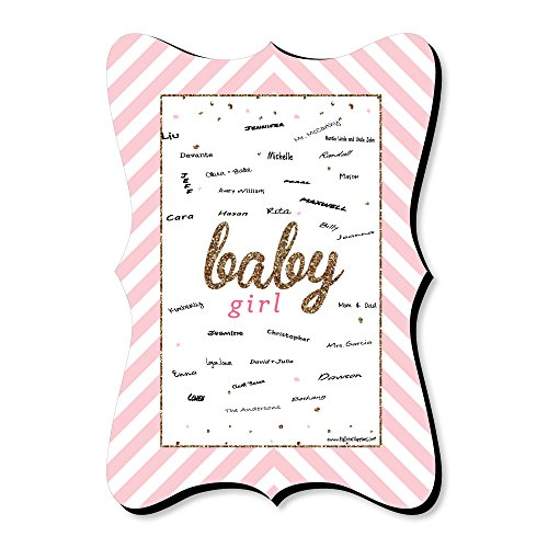 Big Dot of Happiness Hello Little One - Pink and Gold - Unique Alternative Guest Book - Girl Baby Shower Signature Mat]()