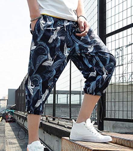 Gergeousクロップドパンツ メンズ ワイドパンツ 七分丈 鶴柄 ファッション ジョガーパンツ ゆったり 和風 ハーフパンツ オシャレ ビーチウェア 半ズボン 海水 旅行 夏