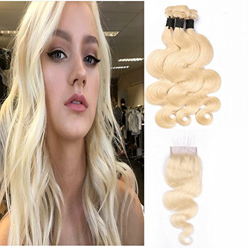 #613 Blonde Human Hair Extensions 3 Bundles with 4x4 Lace Closure Body Wave Brazilian Virgin Hair (22 22 22 with 20 inches, #613)