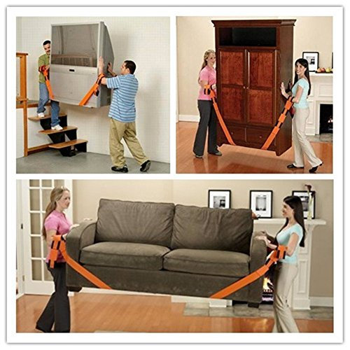Orange Wommty 2-Person Lifting and Moving Straps Easily Move Lift Carry And Secure Furniture Appliances Straps and Harnesses for 2 Movers Great Tool To Add To Moving Supplies