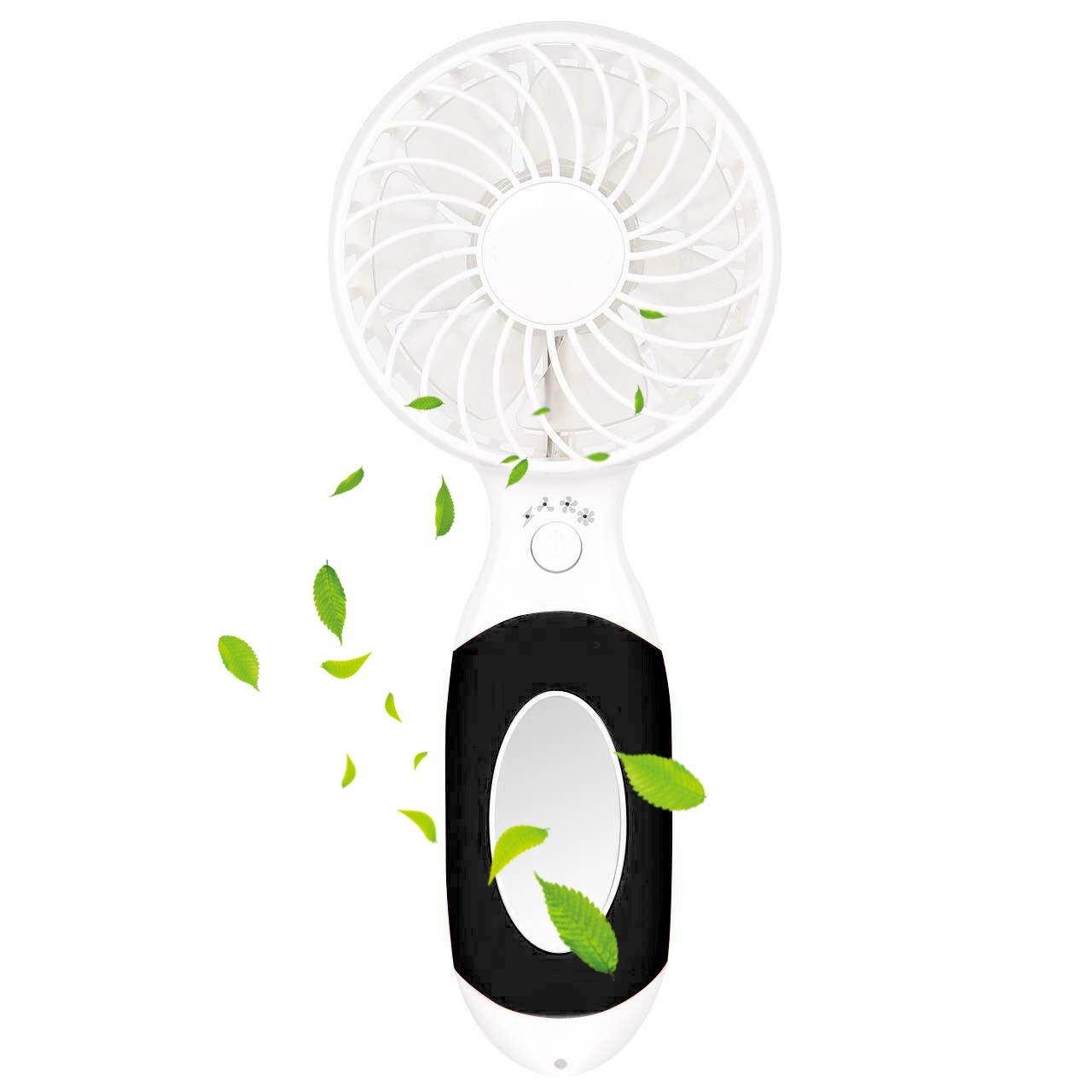 Ventilador USB, LIFU Ventilador Silencioso USB Fan Mini con 3 Modo de Velocidad Mini Espejo y 3600mAh Baterí a Interna Recargable Portatil Ventilador Para Casa y Oficina al Aire Libre-Negro