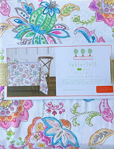 The Carrot Patch Fabric Tablecloth Colorful Exotic Jacobean Floral Pattern - 60 Inches x 120 Inches
