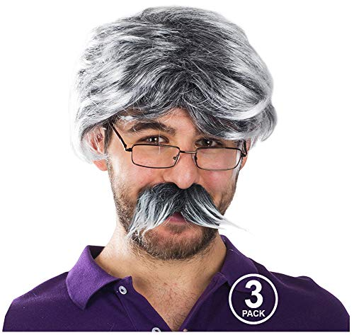 Tigerdoe Old Man Costume - Dress Up Set, Grey Wig, Mustache, Grandpa Glasses - Grandpa Costume (3 Pc Set) -