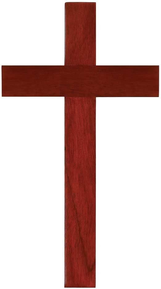 Mahogany Wood 10 Inch Christian Wall Cross Lord God Jesus