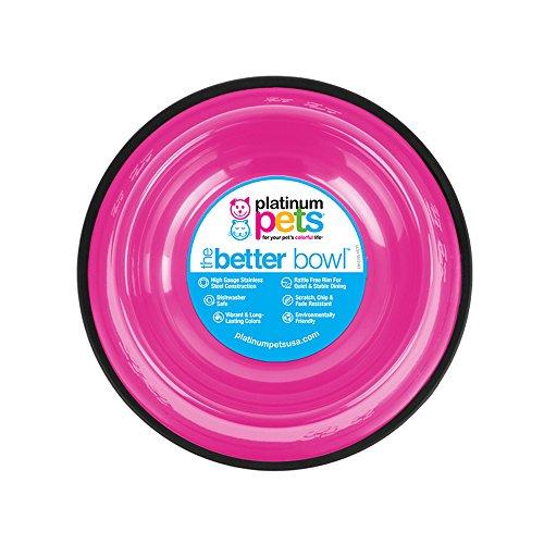 Platinum Pets Non-Tip Stainless Steel Dog Bowl, 80 Oz, Bubble Gum Pink, X-Large