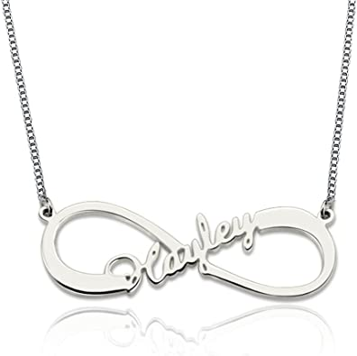 Ouslier Personalized 925 Sterling Silver Family Birthstone Infinity Name Necklace Custom Made with 4 Name