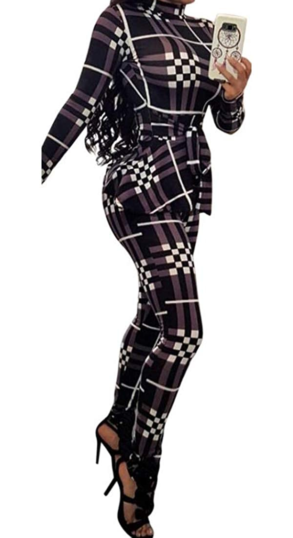 Qiangjinjiu Women Plaid Long Sleeve Skinny Pants Bodycon Romper Jumpsuit with Belt