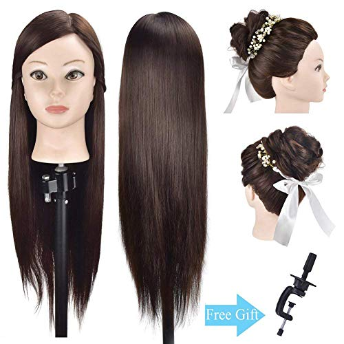 "Beauty : Ba Sha 26""-28"" Mannequin Head Hair Styling Head Hairdresser Training Head Cosmetology Manikin Head Doll Head Synthetic Hair with Free Clamp"