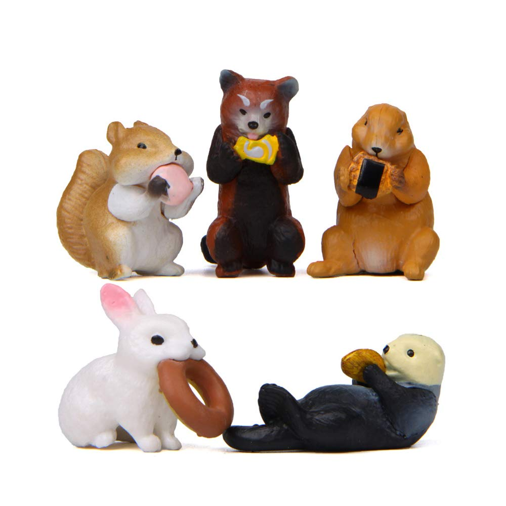 Garden Cake Decoration HanYoer 5 pcs Lovely Animal Characters Toys Figurines Playset Cake Topper