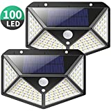 Solar Lights Outdoor, Kilponen Upgraded 100 LED Solar Motion Sensor Security Lights [1800mAh] Solar Wall Lights 270º Solar Powered Lights Waterproof Solar Lamp with 3 Modes for Garden [2 Pack]