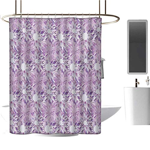 Mauve Shower Curtains Waterproof Digital Guiloche Fractal Crystal Stylized Floral Ornamental Retro Design Satin Fabric Sets Bathroom Lilac and Lavender