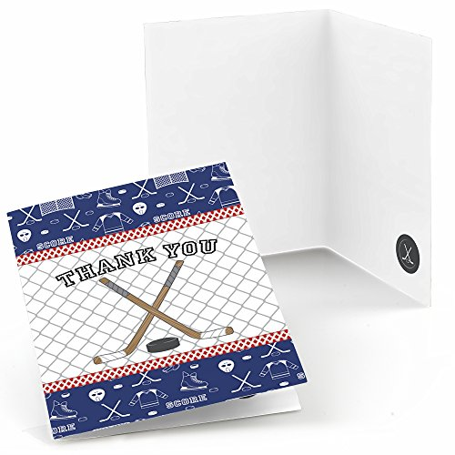 Big Dot of Happiness Shoots and Scores - Hockey - Baby Shower or Birthday Party Thank You Cards (8 Count) (Hockey Birthday Card)