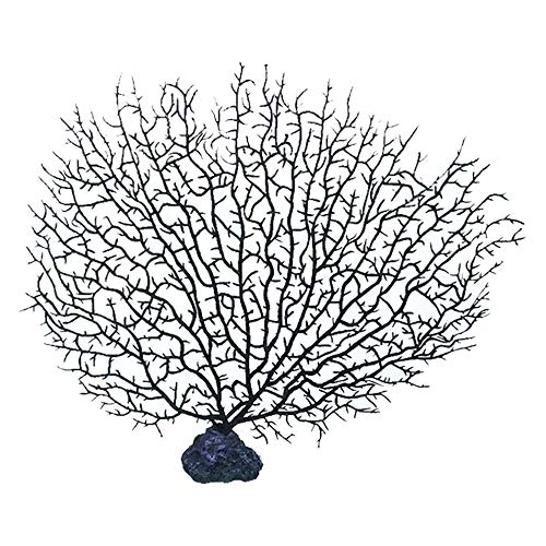 GZQ Artificial Sea Fan Coral Flower Fake Aquarium Plants Ornaments Fish Tank Decoration (Black) ()