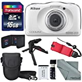 Nikon COOLPIX W100 Digital Camera (White) Basic Bundle with Floating Strap + 16 GB +Tripod + SD/SDHC Reader + Battery + Case + FiberTiqueCleaning Cloth