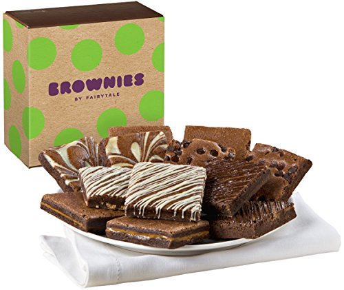 Fairytale Brownies Nut-Free Brownie Dozen Gourmet Food Gift Basket Chocolate Box - 3 Inch Square Full-Size Brownies - 12 Pieces