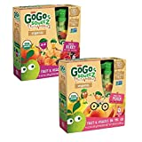 Gogo Squeez Variety Organic Fruit and Veggiez Pedal Pedal Peach & Boulder Berry 3.2 Oz -Pack of 48
