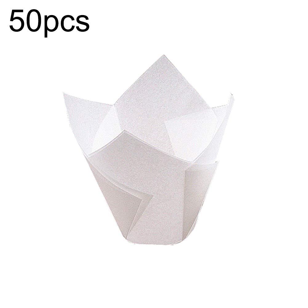 Lsgepavilion Lot de 50 moules /à g/âteau en Forme de Tulipe en Papier pour Muffins R/ésistant aux temp/ératures /élev/ées et Non Collant