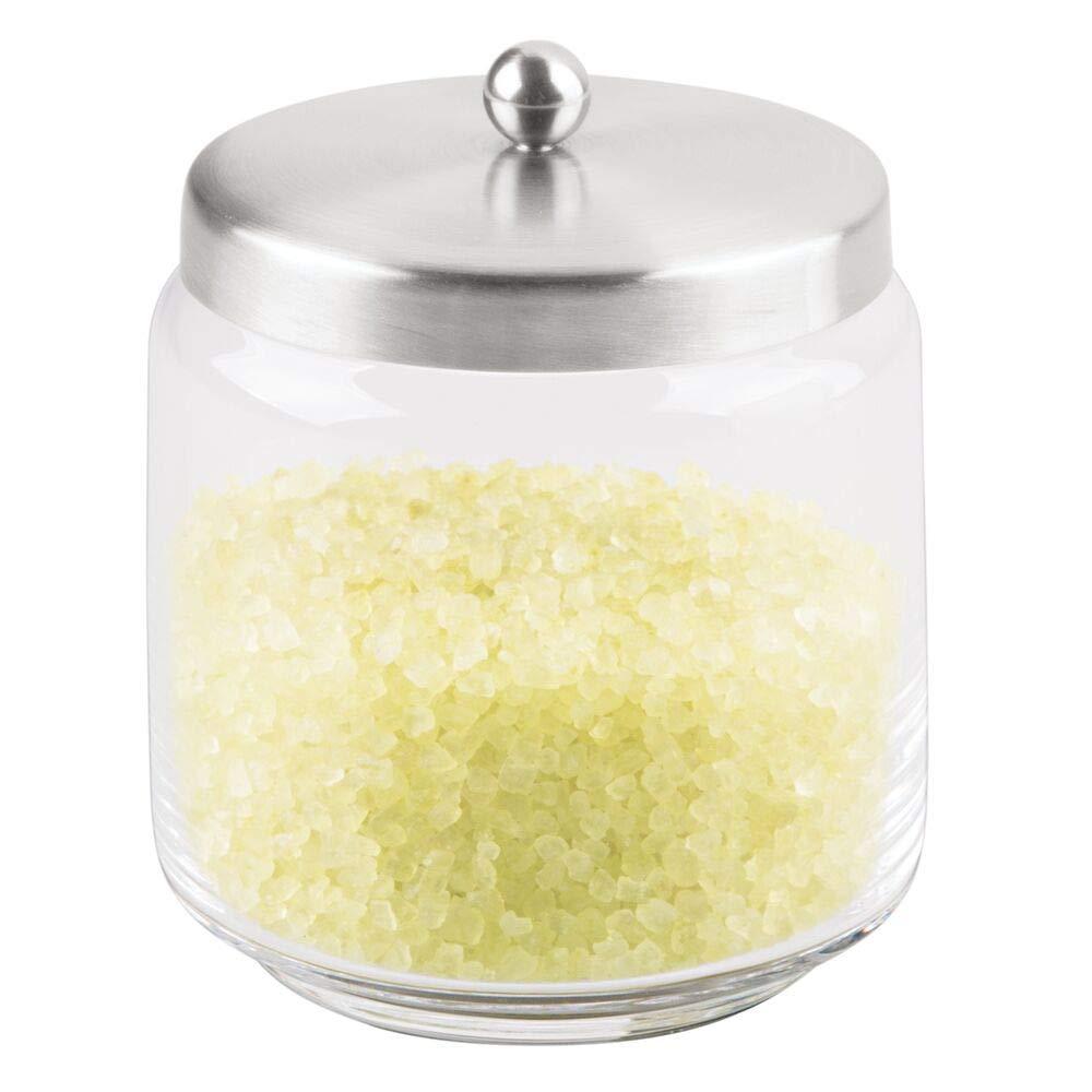mDesign Juego de 2 frascos de Cristal Un Frasco Transparente Grande para Usar como algodonero y uno peque/ño para bastoncillos Botes de Cristal con Tapa para cosm/éticos Transparente//Plateado