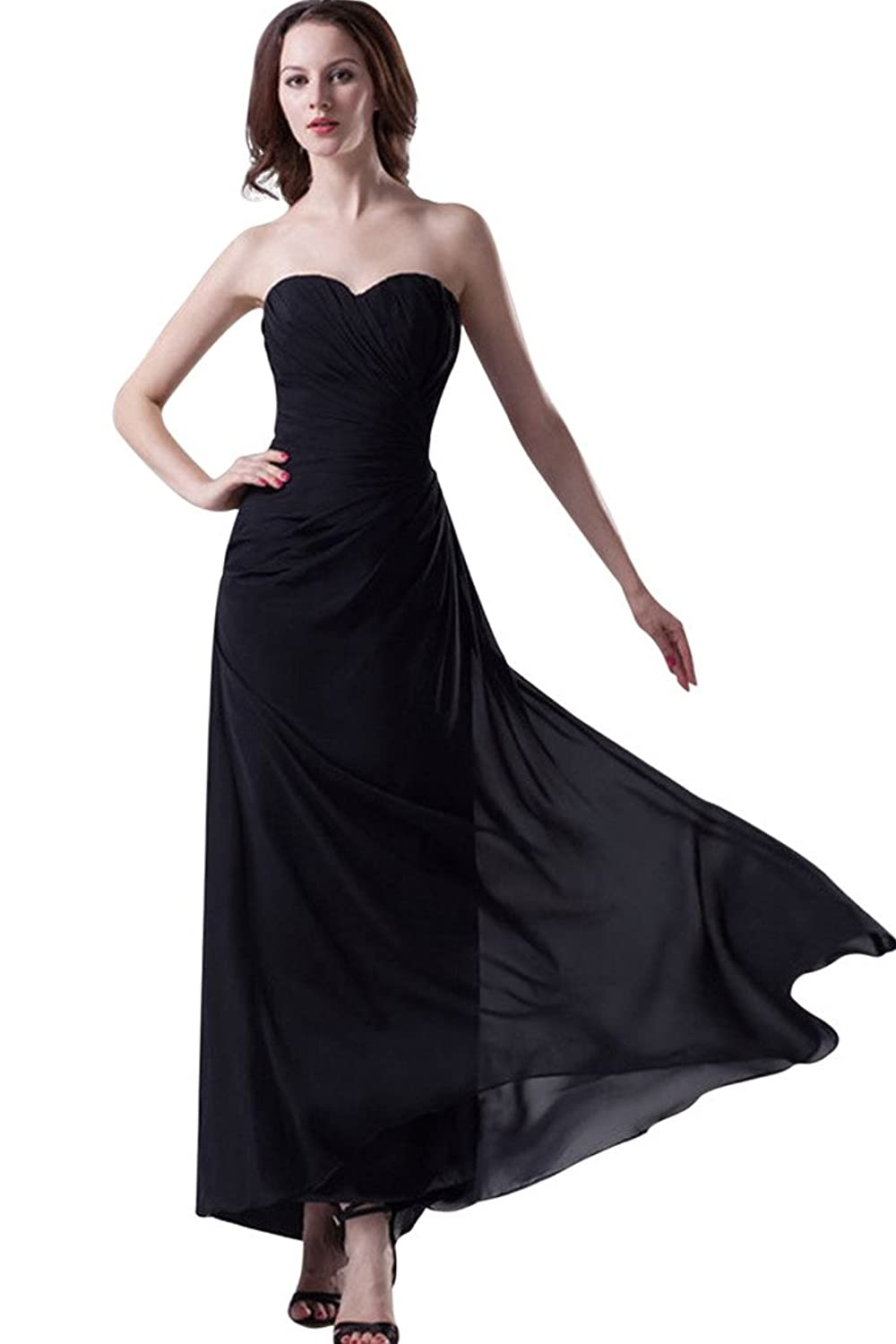Vimans? Girl's Long Black Sweetheart Pleated Chiffon Homecoming Casual Dress