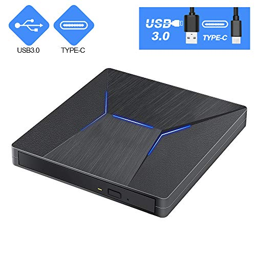 External CD DVD Drive USB C USB 3.0 Dual Port Portable CD DVD /-RW Drive High Speed Data Transfer External Optical Drives for Windows10/MacBook/Desktop/Laptop (Black)