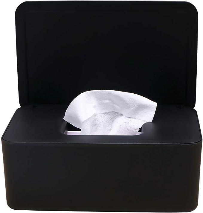 KONUNUS Wet Wipes Storage Box,Wipes Dispenser Holder Tissue Storage Box Case with Lid Dustproof for Home Office Black
