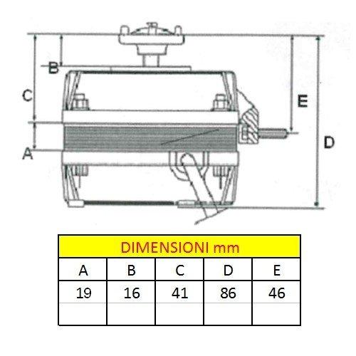 Motore aspirante 7W pentavalente per elettroventilatore compressori frigo
