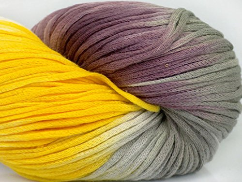 Lot of 3 x 100gr Skeins ICE YARNS Hand-Dyed Cotton Lase Yellow White Purple Grey