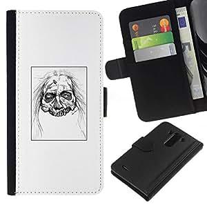 All Phone Most Case / Oferta Especial Cáscara Funda de cuero Monedero Cubierta de proteccion Caso / Wallet Case for LG G3 // Zombie Head - White Walker