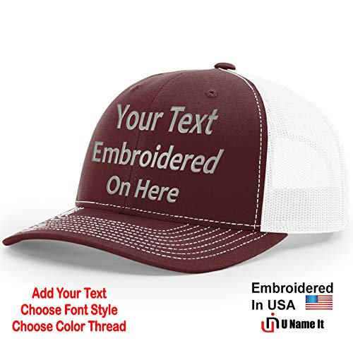 Custom Richardson 112 Hat with Your Text Embroidered Trucker Mesh Snapback Cap (Adjustable Snapback Split Colorway, Maroon/White)