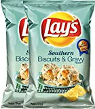 Frito Lay 2 : Lay'S Southern Potato Chips Southern Biscuits & Gray 7.75 Oz Bag Snack Care Package For College, Military, Sports (2)