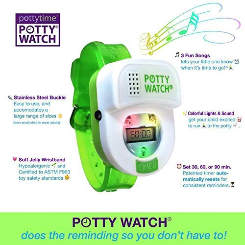 Potty Time: The Original Potty Watch | Newly Improved 2020 ~ Water Resistant | Toddler Toilet Training Aid, Warranty Included (Set Automatic Timers with Music for Gentle Reminders), Green
