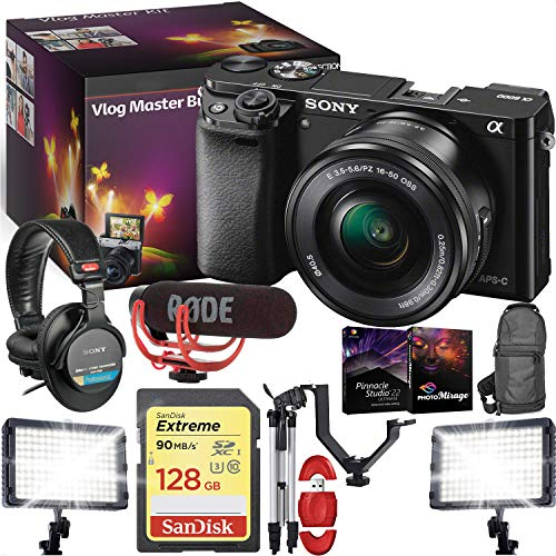 Sony Alpha a6000 Mirrorless Digital Camera with 16-50mm Lens (Black) - VLOG Master KIT - Microphone - LED Lights - Tripod - Editing Software and More! (Sony Vid Camera Digital)
