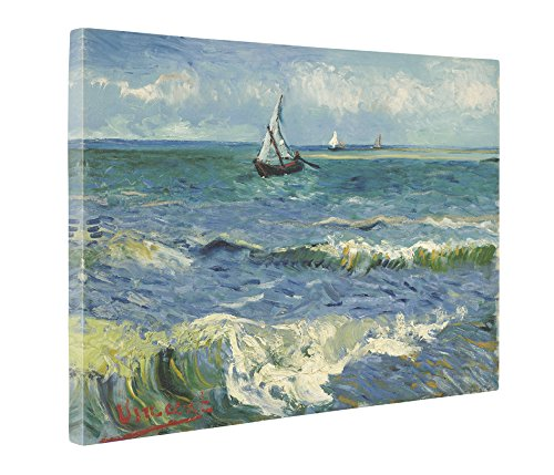 Oil Saintes Maries - Niwo Art (TM - The Sea at Les Saintes-Maries, by Vincent Van Gogh - Oil Painting Reproductions - Giclee Canvas Prints Wall Art for Home Decor, Stretched and Framed Ready to Hang (20 x 24 x 1.5 Inch)