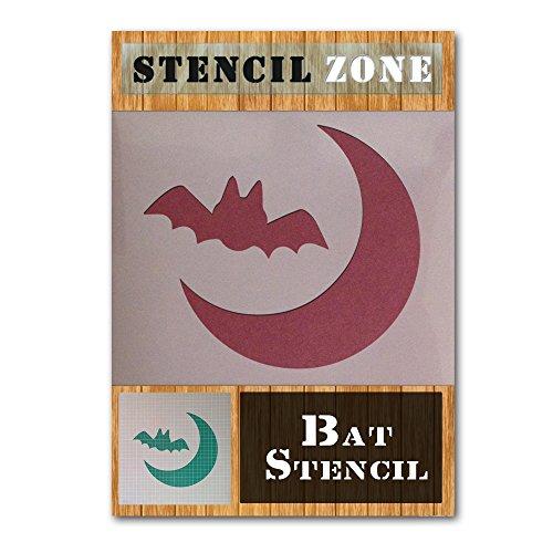 Bat Halloween Mylar Painting Pumpkin Wall Art Stencil Four (A6 Size Stencil - XXSmall) ()
