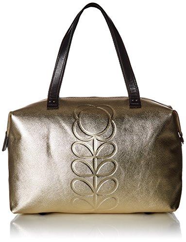 Orla Kiely Embossed Flower Stem Leather Zip Shopper, Light (Embossed Leather Shopper)