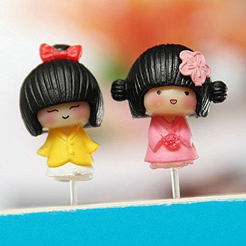 Cute Mini Resin Girl Garden DIY Micro Landscape Decorations,Color Yellow