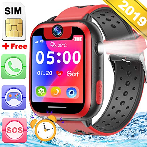 Kids Smart Watch Phone with Free SIM Card Game Watch for Boys Girls 2 Way SOS Call Camera 1.5''Touch Screen Puzzle Game Pedometer Timer Alarm Clock Fitness Tracker Watch Kids Birthday Holiday Gift ()