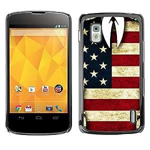 rígido protector delgado Shell Prima Delgada Casa Carcasa Funda Case Bandera Cover Armor para LG Google Nexus 4 E960 American Man STRONG