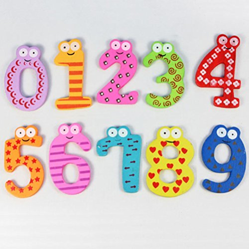 Magnetic Wooden Numbers Math Set for Kids Children Preschool Home School Daycare Child Educational Toy by Iusun (E:10PCS)