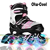 Otw-Cool Adjustable Inline Skates Kids Adults Rollerblades All Wheels Light up , Safe Durable Inline Roller Skates Girls Boys , Men Ladies